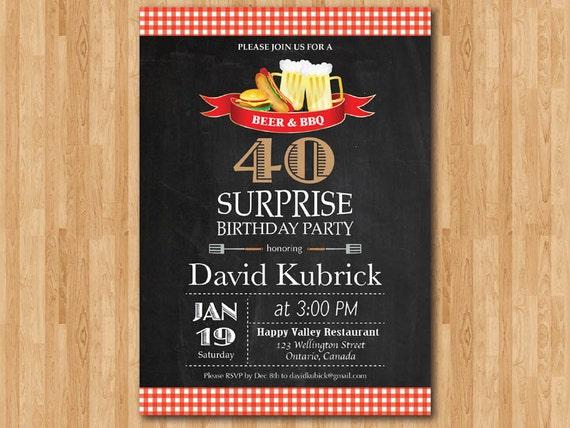 40. Geburtstag Einladung. Überraschung Geburtstag. Bier Und