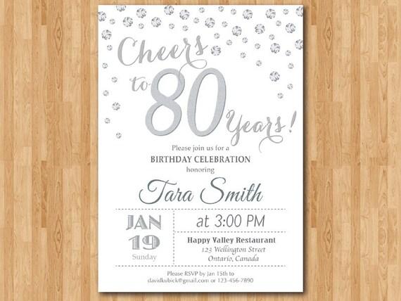Invitación Del Cumpleaños 80 70 90 Glitter Plata Saludos A La Fiesta De Cumpleaños De 80 Años 90 80 70 60 Cualquier Edad Digital Para Imprimir