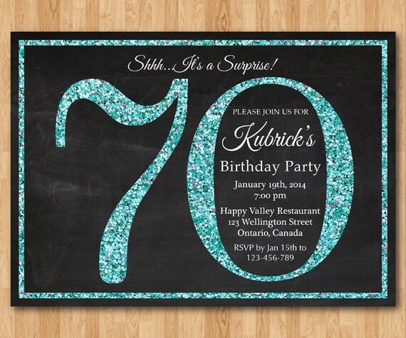 Invitación De Cumpleaños Número 70 Invitación De Fiesta De Cumpleaños De Brillo Azul Aqua Turquesa Fiesta De Sorpresa Adultos Elegante Bricolaje