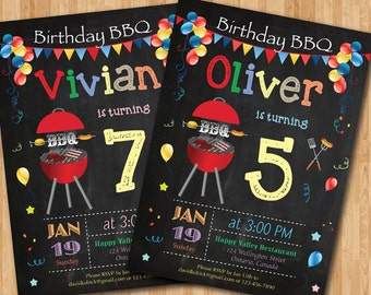 BBQ Birthday Invitation. Chalkboard Backyard. Boy or Girl Bday. 1st 2nd 3rd 4th 5ht 6th 8th 7th 10th 30th 40th any age. Printable Digital.