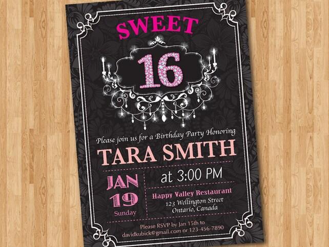 Sweet 16 Birthday Party Invitation Sixteen Diamond Number Birthady Pink Any Custom Color Valentine