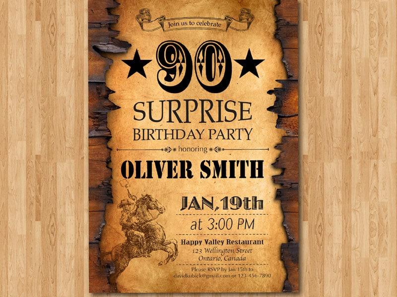 90th Birthday Invitation Western Theme For Men