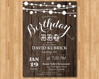 30th Birthday BBQ Invitation. Wood Rustic. BBQ Party Invitation. Surprise Birthday. Backyard string lights. Printable Digital