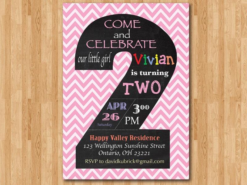 Chalkboard Second Birthday Invitation Chevron 2nd
