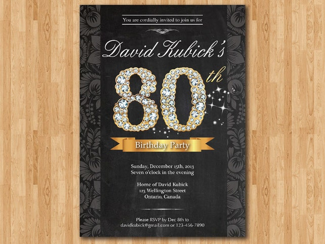 80th Birthday Invitation Black And Gold Diamond Number Bash Invite Chalkboard Background Custom Any Color Wording DIY