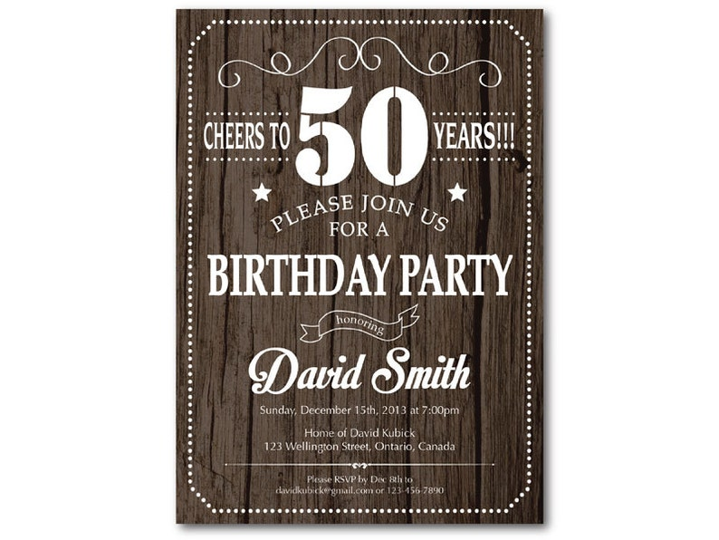 50th Birthday Invitation For Men Rustic Wood Texture 30th