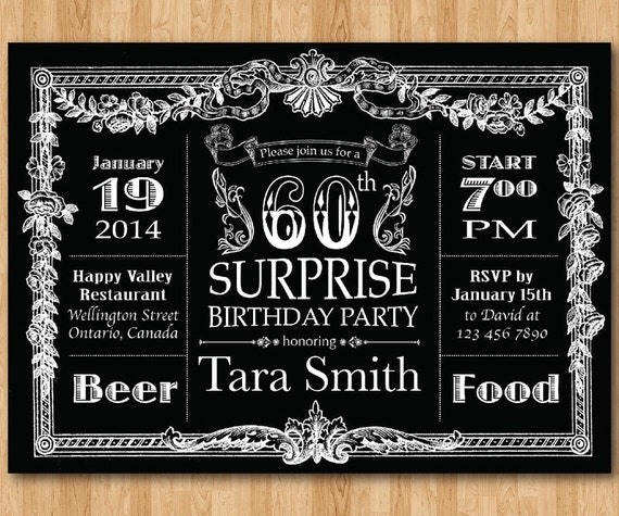 60th birthday invitation chalkboard surprise birthday men etsy image 0 filmwisefo