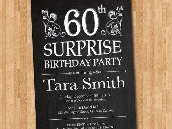 60th surprise birthday invitation  chalkborad birthday party