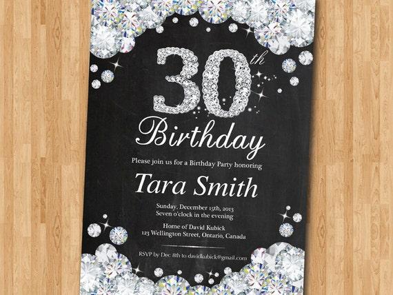 30 Compleanno Invito Lavagna Strass Diamond Elegante Birthday Etsy