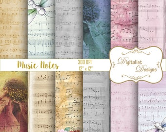 sheet music digital paper, music notes scrapbook paper, vintage digital paper, printables, backgrounds for scrapbooking, digital backgrounds