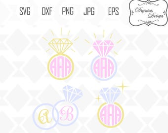 wedding svg, wedding ring svg, circle monogram frame, diamond ring clipart, svg bundle, silhouette, vector, cricut cut files
