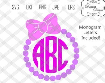 circle monogram svg, circle monogram font, monogram letters, svg fonts, bow svg, silhouette, vector, cricut cut files, pearl frame