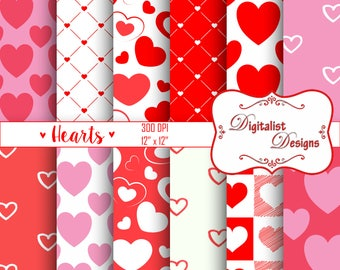 hearts digital paper, hearts scrapbook paper, valentine digital paper, printables, backgrounds for scrapbooking, digital backgrounds