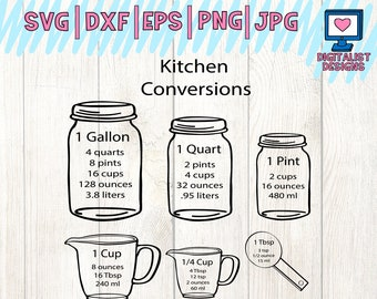 kitchen svg, measuring cups svg, measuring cheat sheet svg, cooking svg, silhouette, cricut cut files, vector, kitchen art, kitchen decor