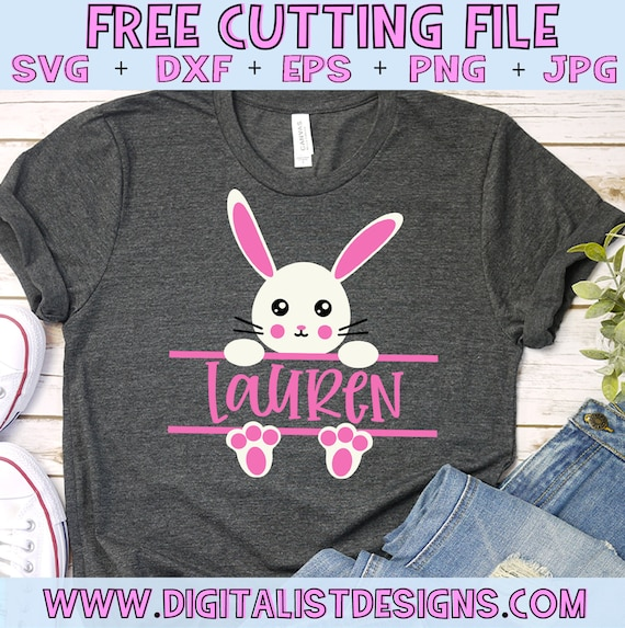 Free Svg File Easter Bunny Svg Girls Svg Split Monogram Etsy