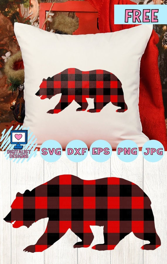 Free Svg File Plaid Bear Svg Buffalo Plaid Christmas Svg Etsy