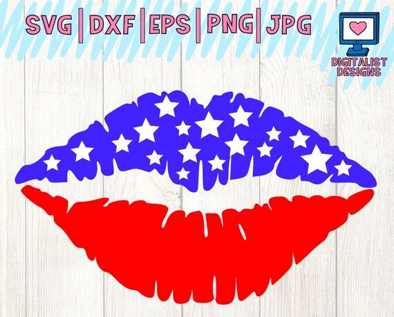 American Flag Lips Svg Lips Svg Stars Svg America Svg July Etsy