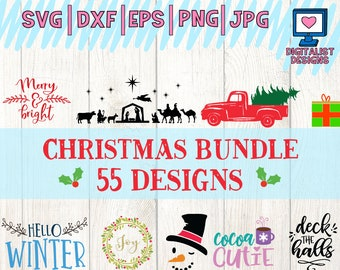 Christmas svg bundle, holiday svg files, Merry Christmas svg, santa svg, Christmas Tree svg, monogram svg, wreath svg, sillhouette cameo dxf