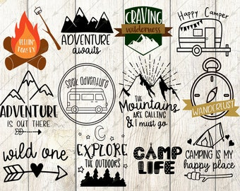 camp svg, happy camper svg, camping svg, summer svg, cricut, silhouette, mountains are calling, wanderlust, arrow svg, svg bundle, wild