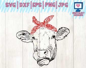 Cow svg, heifer svg, cow clipart, cow face svg, svg files, bandana, cricut, silhouette, vector, printable, iron on, dxf, png, cow vector