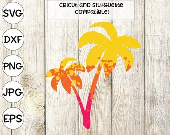 beach svg, palm trees svg, summer svg, ombre svg, beach clipart, palm tree svg, png, printable, svg for cricut design space, dxf, silhouette