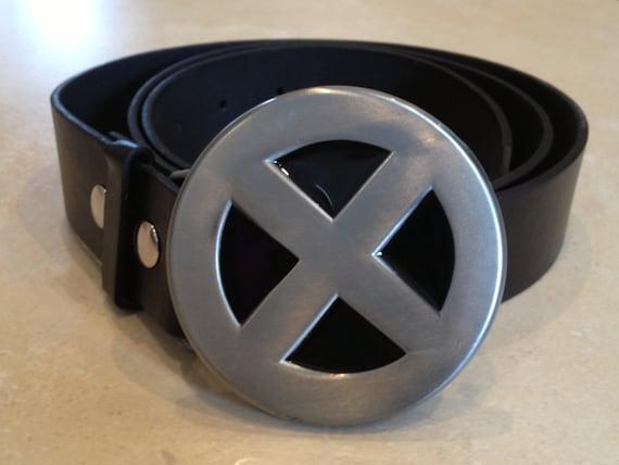 X Men Logo Buckle Free Belt Silver Black Wolverine Etsy