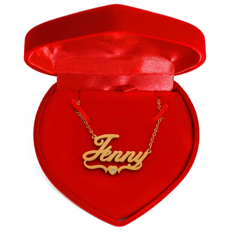14118f753c606 Jenny Heart Name Necklace 18ct Gold Plated Personalized Monogram Gifts For  Her Wife Girlfriend Fiancé Anniversary Birthday Valentines