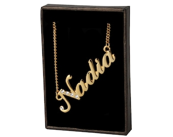 Name Necklace Nadia - Gold Plated 18ct Personalised Necklace with Swarovski Crystals