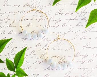 Beaded Hoop Earrings in MISTY GRAY, Gold Brass Hoops, Nickel Free Hoop Earrings