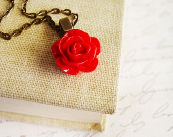 Red Rose Necklace with Bronze Chain, Red Floral Pendant Necklace, Resin Flower Jewelry