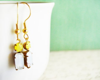 Small Glass Dangle Earrings in Crystal and Yellow, Little Glass Gemstone Earrings