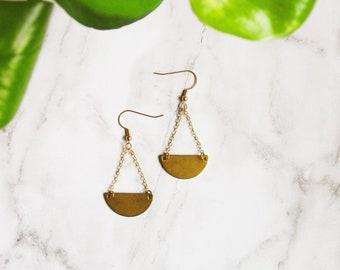 Geometric Brass Dangle Earrings, Raw Brass Semicircle Drop Earrings, Modern Cresent Earrings
