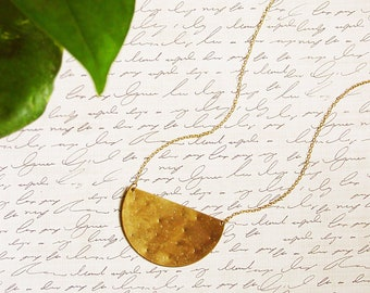 Large Brass Cresent Pendant Necklace, Long Geometric Semicircle Pendant, Hammered Brass Statement Necklace