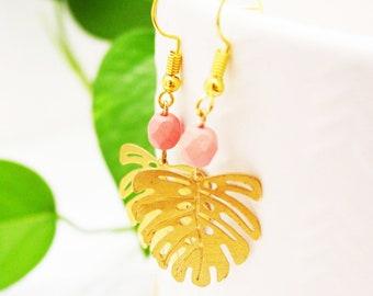 Blush Pink Monstera Leaf Earrings, Raw Brass Leaf Earrings, Modern Tropical Dangle Earrings
