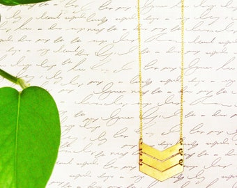 Long Chevron Pendant Necklace, Geometric Brass Arrow Pendant, Raw Brass Statement Necklace