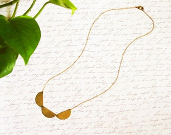 Short Brass Scallop Necklace, Small Geometric Three Semicircle Necklace, Raw Brass Scalloped Necklace