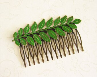 Fresh Green Patina Hair Comb, Greek Goddess Aphrodite Hair Accessory, Nature Inspired Antique Bronze Branch Hair Comb