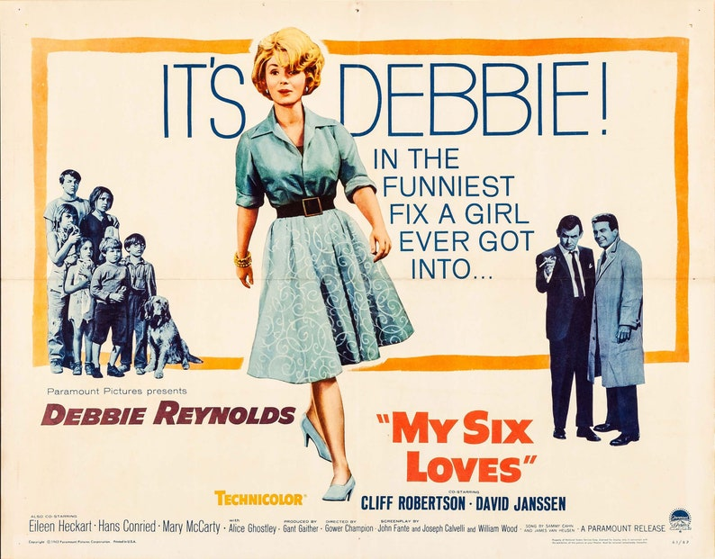 My Six Loves Debbie Reynolds 1963 Original Movie Poster | Etsy