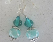 Earrings, Teal and white  lampwork glass beads on silver ear wires. Artisan lampwork, SRA, Chrys Art Glass