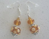 Topaz and white earrings on silver ear wires with lampwork glass beads. Artisan lampwork, SRA, Chrys Art Glass