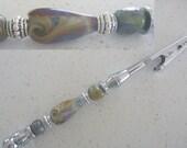 Roach Clip / Bracelet Helper, featuring Artisan lampwork Glass Beads.