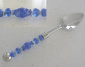 Grapefruit Spoon. Serrated Featuring handmade artisan lampwork beads by Chrys Art Glass