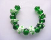 Lampwork Glass Bead Set in emerald green and white. 15 beads, 6 design beads and 9  spacers. Artisan lampwork, SRA, Chrys Art Glass
