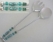 Salad Servers with Lampwork Glass beads in teal and emerald green, Chrys Art Glass