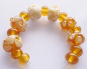 Beads, Lampwork Glass Bead Set in topaz / amber and white. 15 beads, 6 design beads and 9  spacers. Artisan lampwork, SRA, Chrys Art Glass