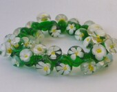 Bracelet, Lampwork Glass daisy drops. Artisan lampwork, SRA, Chrys Art Glass