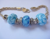 Bracelet with lampwork glass beads, Pandora style