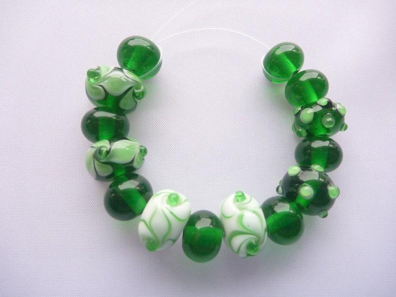 Lampwork Glass Bead Set. Custom Order in emerald green and image 0