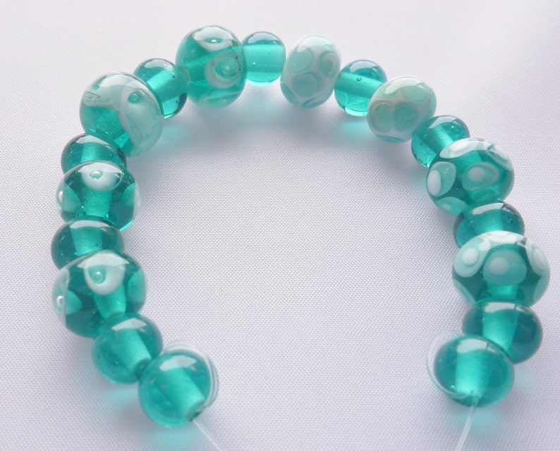 Lampwork Glass Bead Set Custom Order in teal and white. . image 0