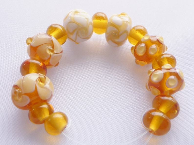 Beads Lampwork Glass Bead Set in topaz / amber and white. 15 image 0